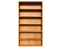 A wooden wardrobe from light brown wood and empty shelves. Front view Royalty Free Stock Photo