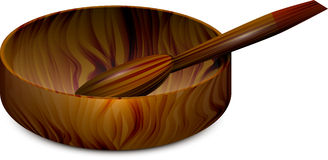 Wooden ware. Dish with a spoon abstract vector illustration isolated with shadow eps10 Royalty Free Stock Photography
