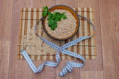 Wooden ware of folk art with pearl barley and centimeter. The Russian Khokhloma Royalty Free Stock Photography