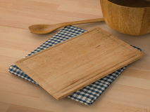 Wooden ware on wooden background Stock Photos