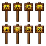 Wooden warning signs Royalty Free Stock Photos