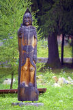 Wooden Warrior Statue. Hand carved wooden warrior statue Stock Photos