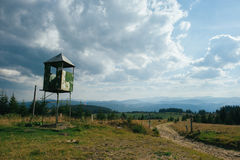 Wooden watch tower in the grove to prevent forest fires royalty free stock photos