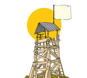 Wooden watch tower. Old rickety wooden watch tower with blank flag Royalty Free Stock Photo