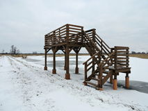 Wooden watching tower, Lithuania Royalty Free Stock Image