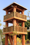 Wooden watchtower in battlefield park Stock Photo