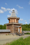 Wooden watchtower in the territory of the Sacred and Troitsk Trifonov-Pechengsky man's monastery Royalty Free Stock Photos