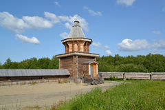 Wooden watchtower in the territory of the Sacred and Troitsk Trifonov-Pechengsky man's monastery Stock Photography