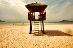Wooden watchtower on the tropical beach of Hainan island  - China Royalty Free Stock Image