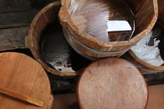 Wooden water buckets Royalty Free Stock Photo
