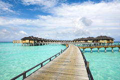 Wooden water bungalows, Maldives Royalty Free Stock Images