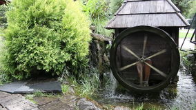 Wooden water mill. Old  wooden water mill vintage stock video footage