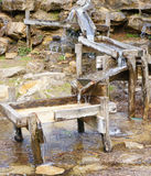 Wooden water sluice boxes Royalty Free Stock Images