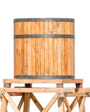 Wooden Water Tower With Steel Ring Isolated Royalty Free Stock Photography