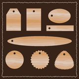 Wooden watercolor tags. vector set. Brown wooden watercolor tags. vector set labels Stock Photo