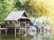 Wooden waterfront pavillion by the lake Stock Images