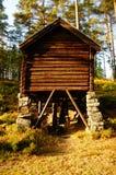 Wooden watermill Telemark, Norway. Old traditional wood watermill from XVIII, Sanidal i Kragero Norway. Atumn in norwegian vilage. Telemark fylke, Kragero Stock Photos