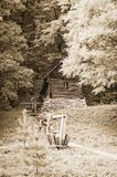 Wooden watermill in woodland Royalty Free Stock Images