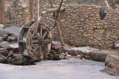 Waterwheel watermill convert water power. Wooden waterwheel watermill convert water power stock photos