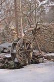 Waterwheel watermill convert water power. Wooden waterwheel watermill convert water power royalty free stock photo