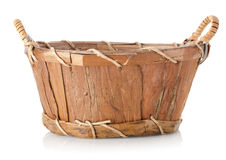 Wooden wattled basket. On a white background stock photo