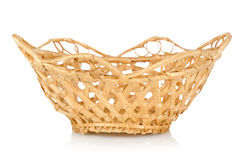 Wooden wattled basket  Royalty Free Stock Photo