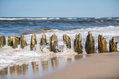 Wooden wave breakers on the beach. Old wooden breakwaters on the Baltic coast beach Royalty Free Stock Image