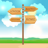 Wooden way direction sign Stock Image