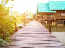 Wooden way with home stay Stock Photos