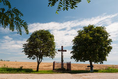 Wooden wayside cross Royalty Free Stock Images