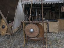 Wooden weapons shield, sword, spears of the middle ages. Reconstruction of historical events of the city Magdeburg, Germany. The. Kaiser-Otto-Fest for the whole stock photos