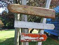 Wooden weathered signposts Stock Image