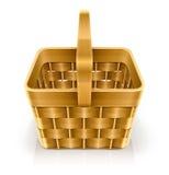 Wooden weave basket. Vector illustration  on white background Stock Photo