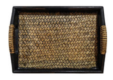 Wooden with weave rattan tray,  on white background Stock Photos