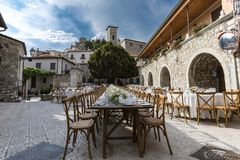 A wooden wedding table in an ancient village stock image