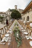 A wooden wedding table in an ancient village Stock Photography