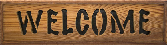 Wooden welcome sign Stock Images