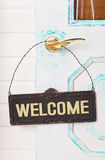 Wooden welcome sign on door Royalty Free Stock Image
