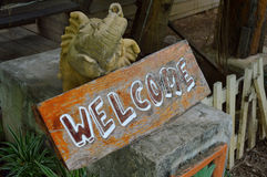 Wooden welcome sign Stock Photo