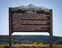 Wooden welcome sign to the town of Leadville Colorado USA Stock Photos