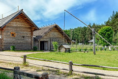 Wooden well from ancient farmhouses Stock Image