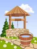 Wooden well and bucket of water stock illustration
