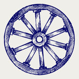 Wooden wheel. Doodle style. Vector sketch Stock Photography