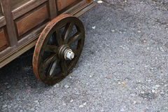 Wooden wheel of barrow Royalty Free Stock Photography