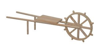 Wooden wheel barrow (farming) Royalty Free Stock Images