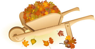 Wooden wheel barrow full with autumn leaves Stock Photo