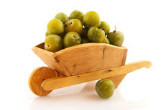 Wooden wheel barrow with plums Stock Photography