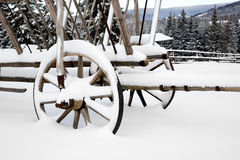 Wooden wheel carriage in snow Stock Image