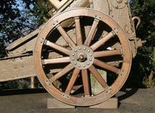 Wooden wheel gun of World War I in the Museum Stock Photo