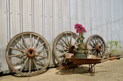 Wooden wheel, hub, and spokes Royalty Free Stock Photography